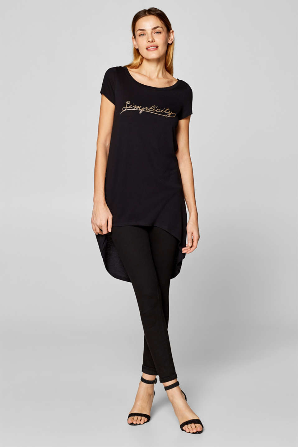 Esprit - Long top with a glittering print and high-low hem