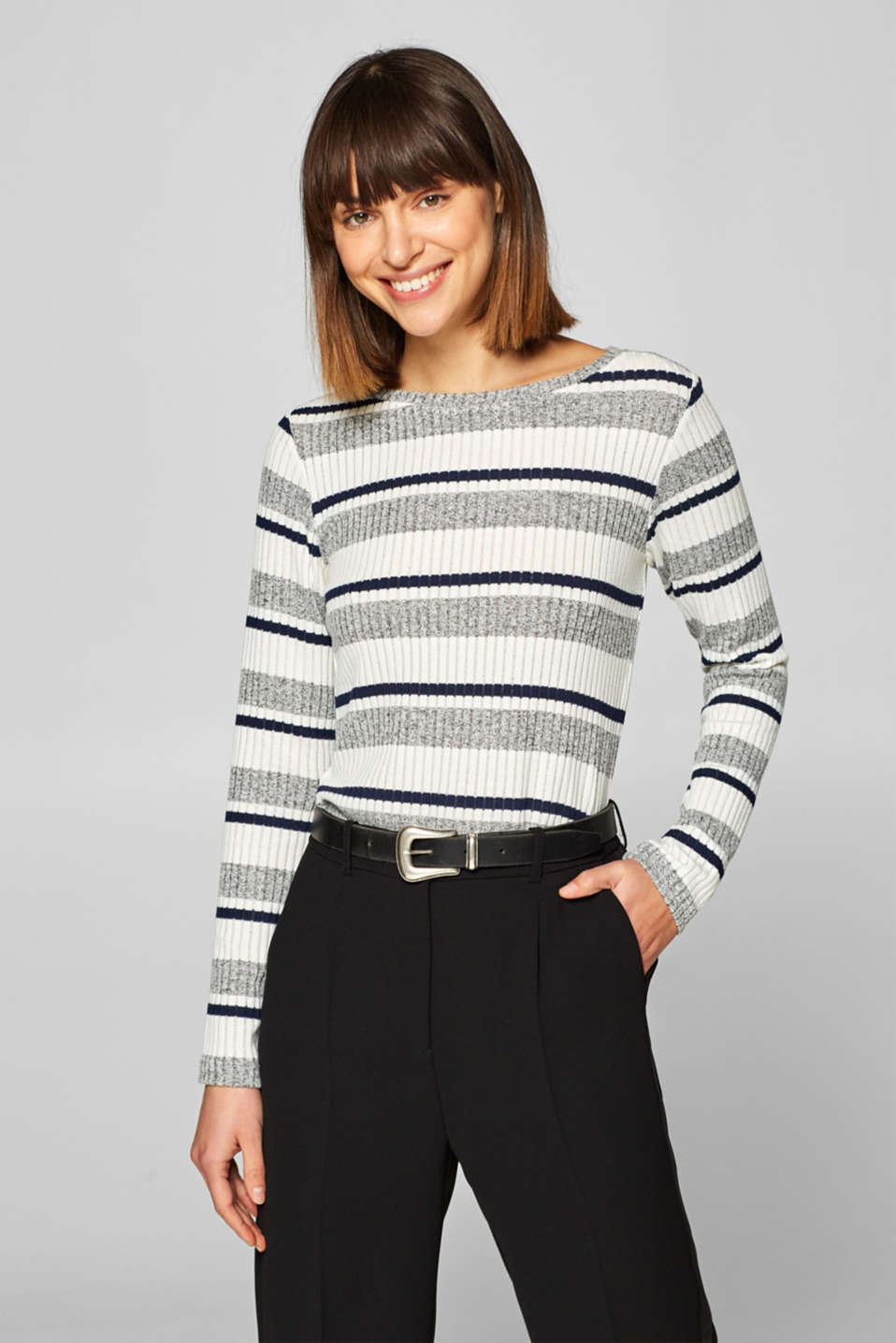 Esprit - Striped ribbed long sleeve top with stretch