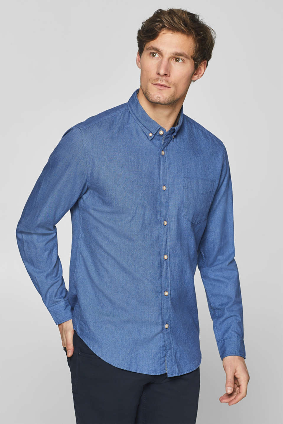 Esprit - Shirt with a two-tone texture, 100% cotton