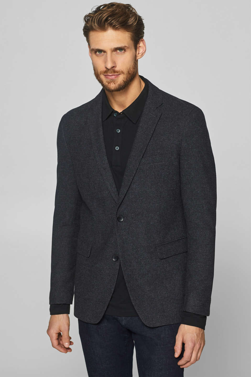 Esprit - Wool blend: sports jacket with Prince of Wales checks