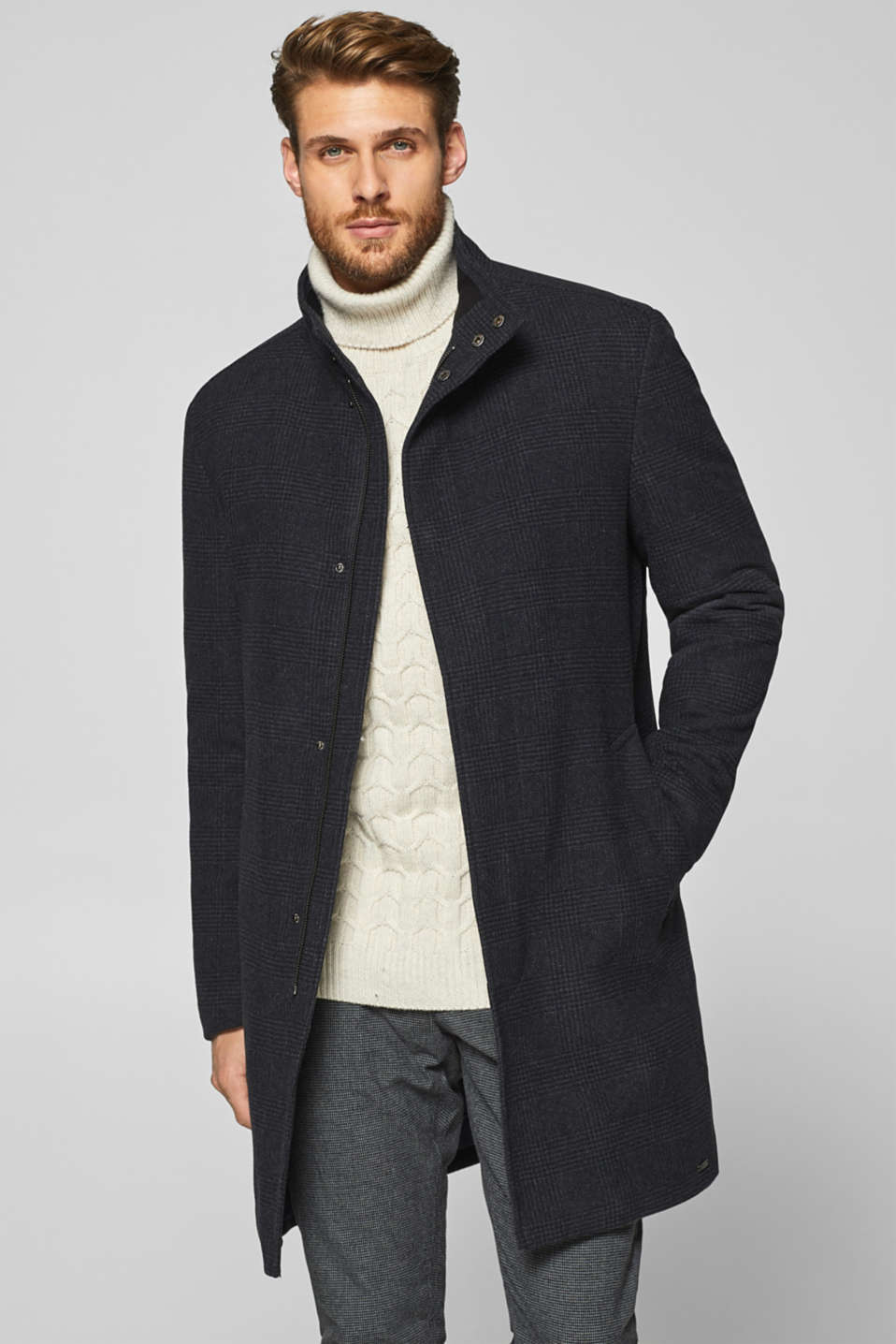 Esprit - Wool blend: coat with a tonal Prince of Wales check