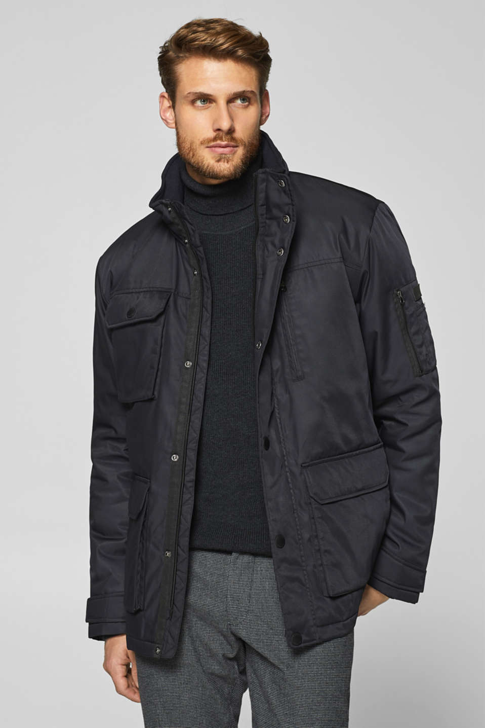 Esprit - Coated field jacket with adjustable hood