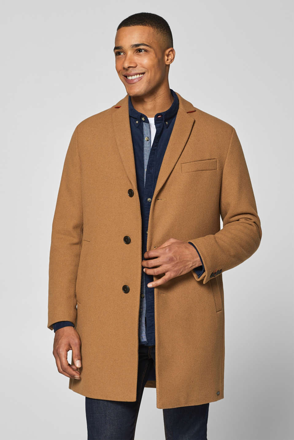 Esprit - With wool: Textured blazer coat