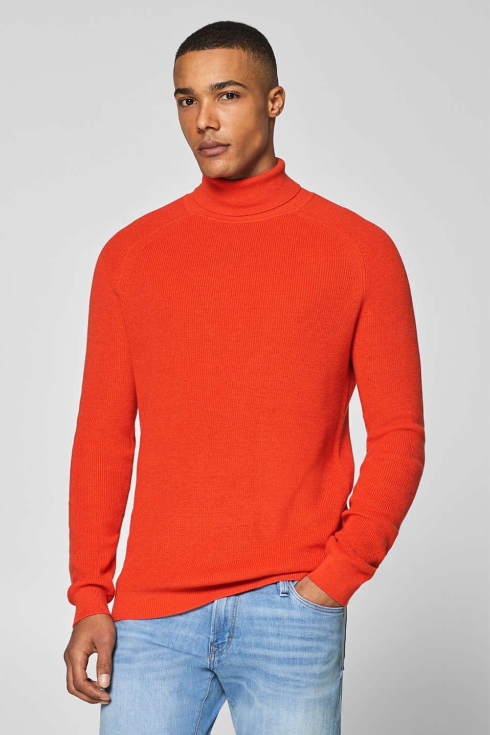 Esprit - Wool blend: ribbed polo neck jumper