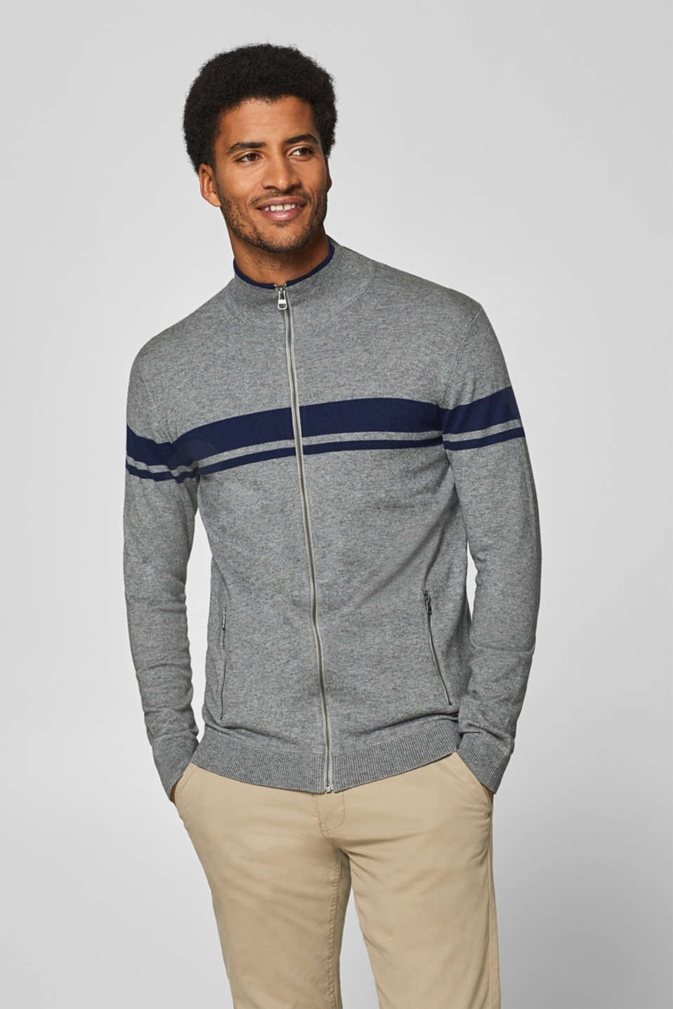Esprit - Wool blend: zip-up cardigan with stripes