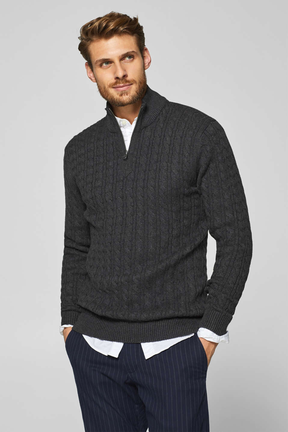 Esprit - Cable knit jumper in 100% cotton