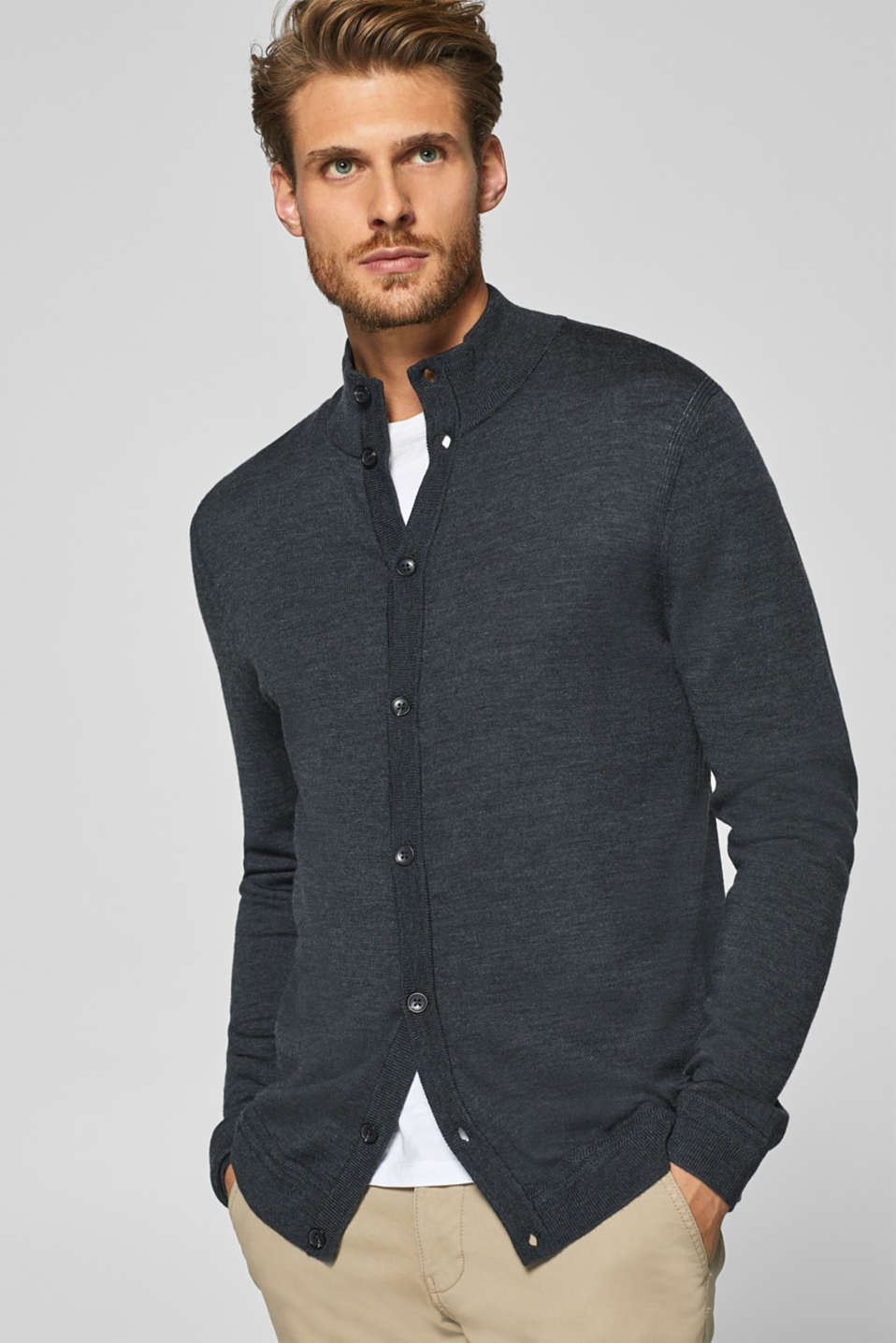 Esprit - 100% wool: cardigan with a stand-up collar