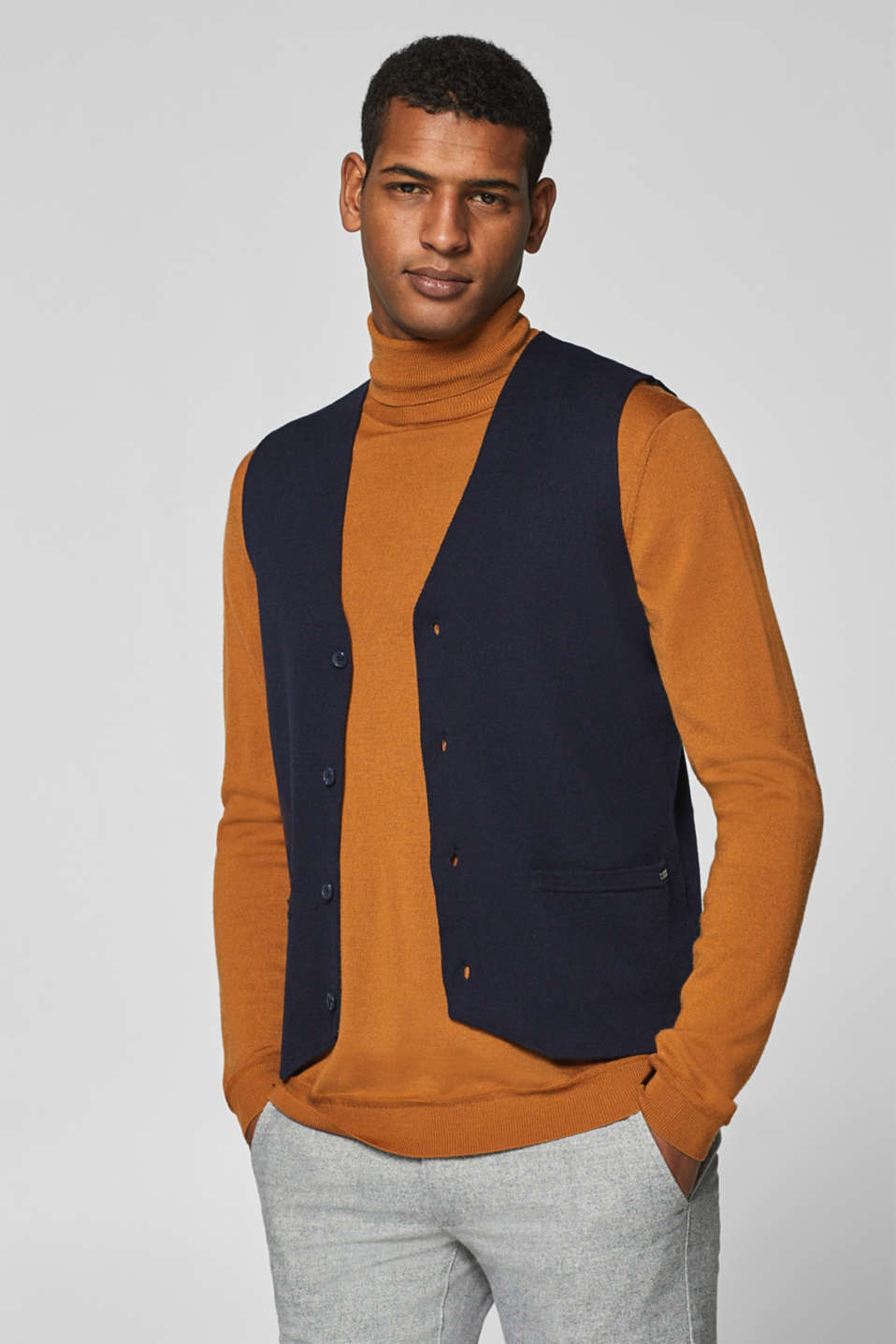 Esprit - Wool blend: double-faced, knitted bodywarmer
