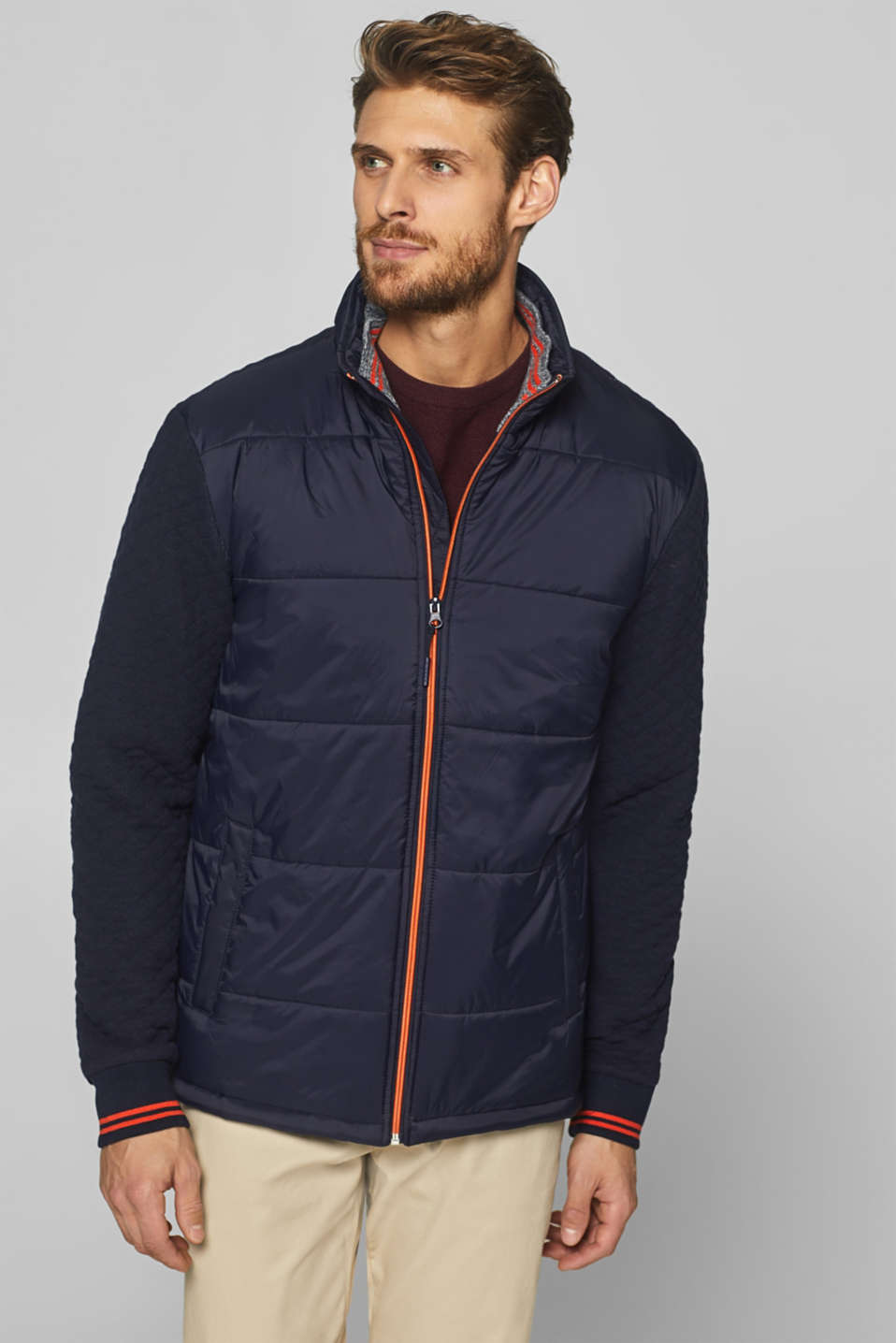 Esprit - Mixed material quilted jacket