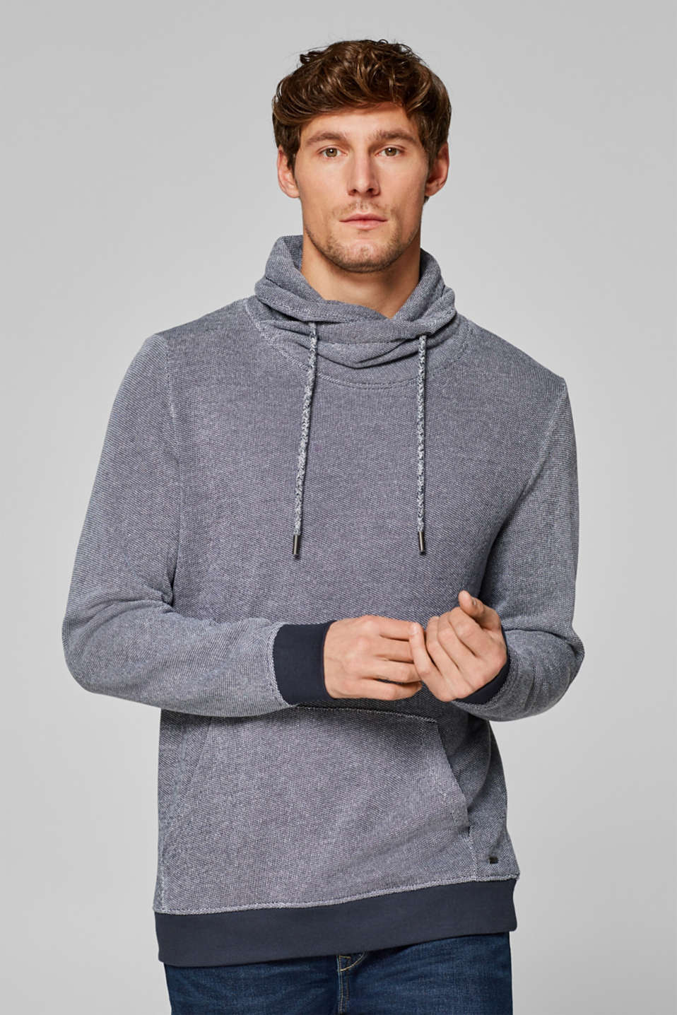 Esprit - Two-tone sweatshirt with a funnel collar