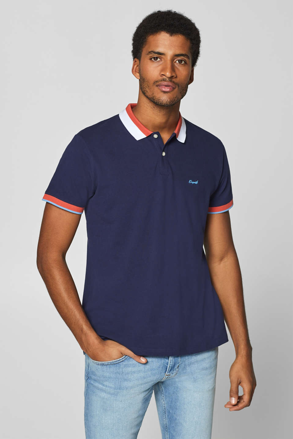 Esprit - Piqué polo shirt with accents, 100% cotton