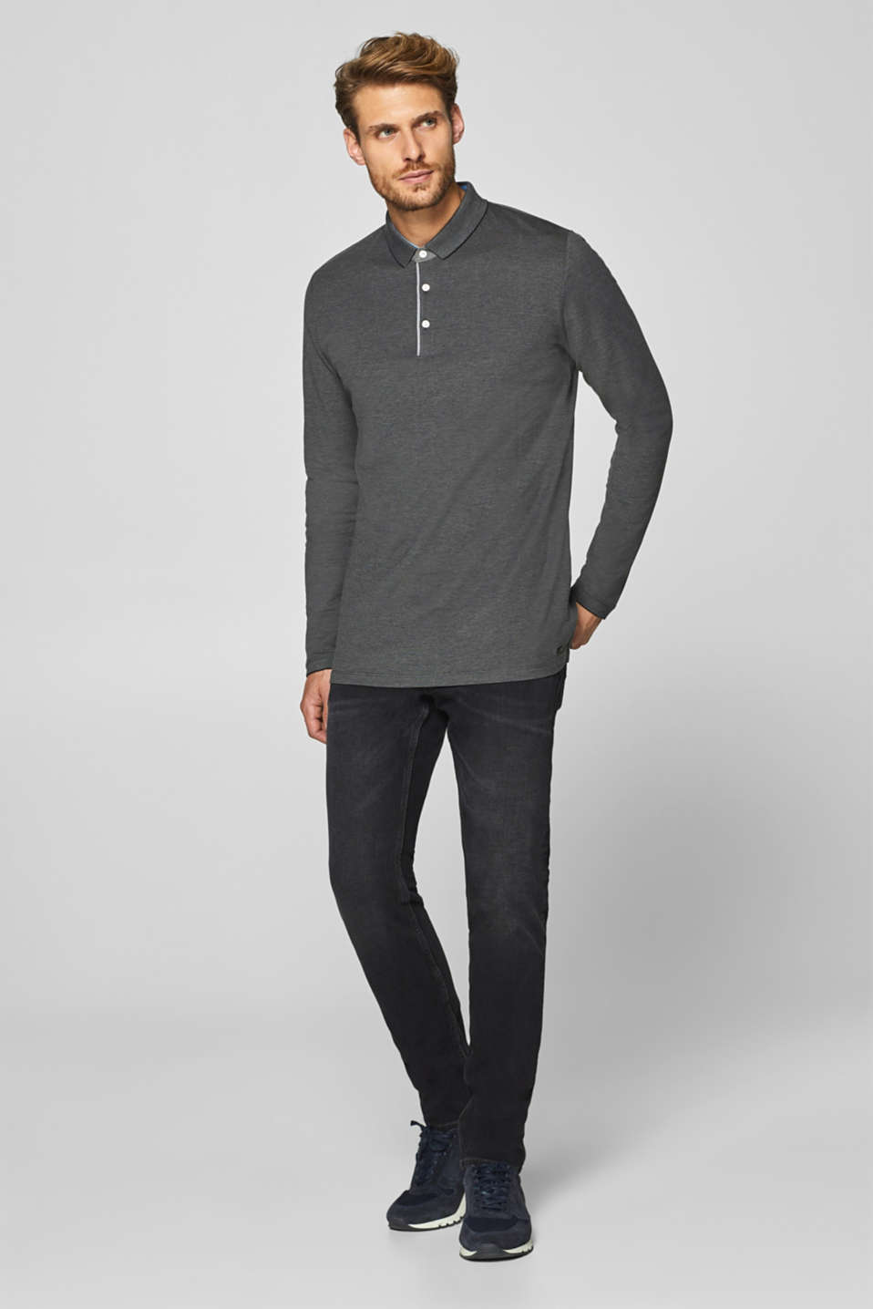Esprit - Long sleeve polo shirt in jersey, 100% cotton