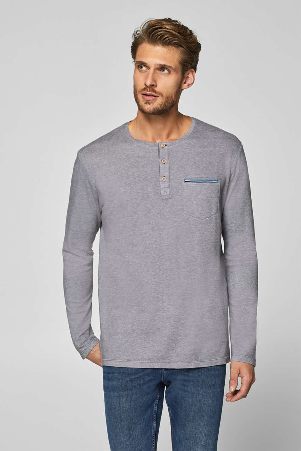 ae2ccc30 Esprit - Jersey long sleeve top with a Henley neckline at our Online ...