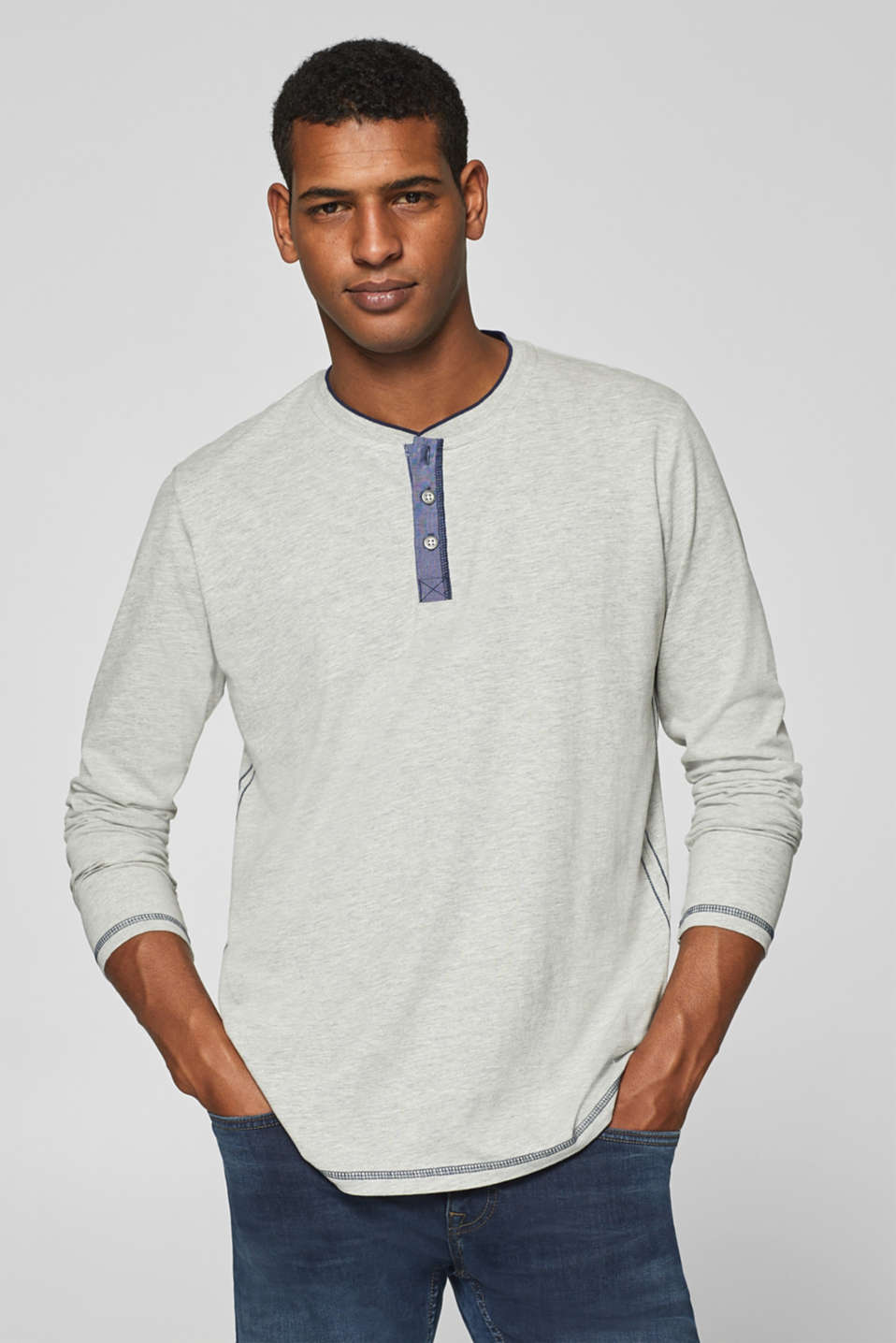 Esprit - Long sleeve top with Henley neckline, made of jersey