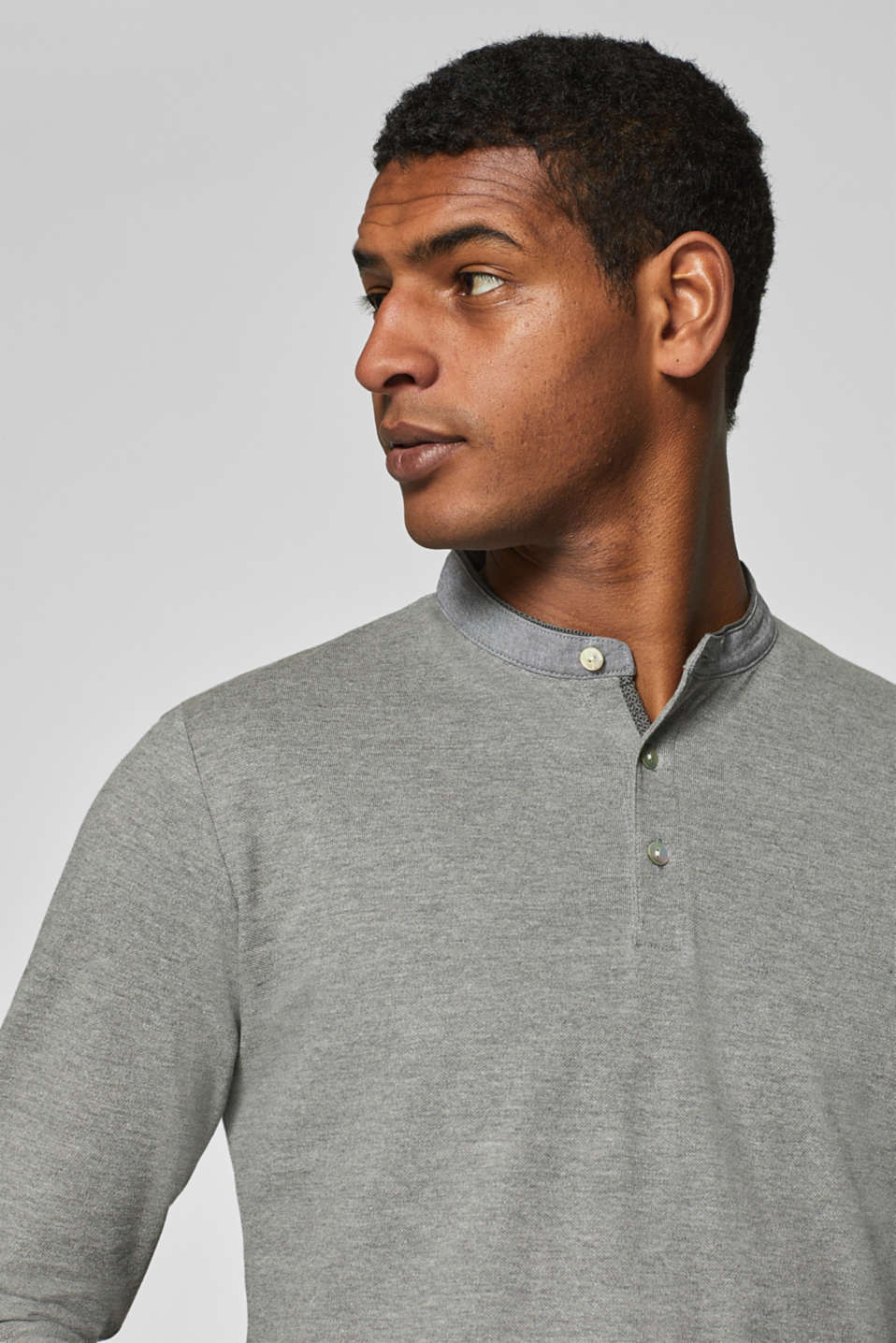 Esprit - Long sleeve piqué top with a stand-up collar