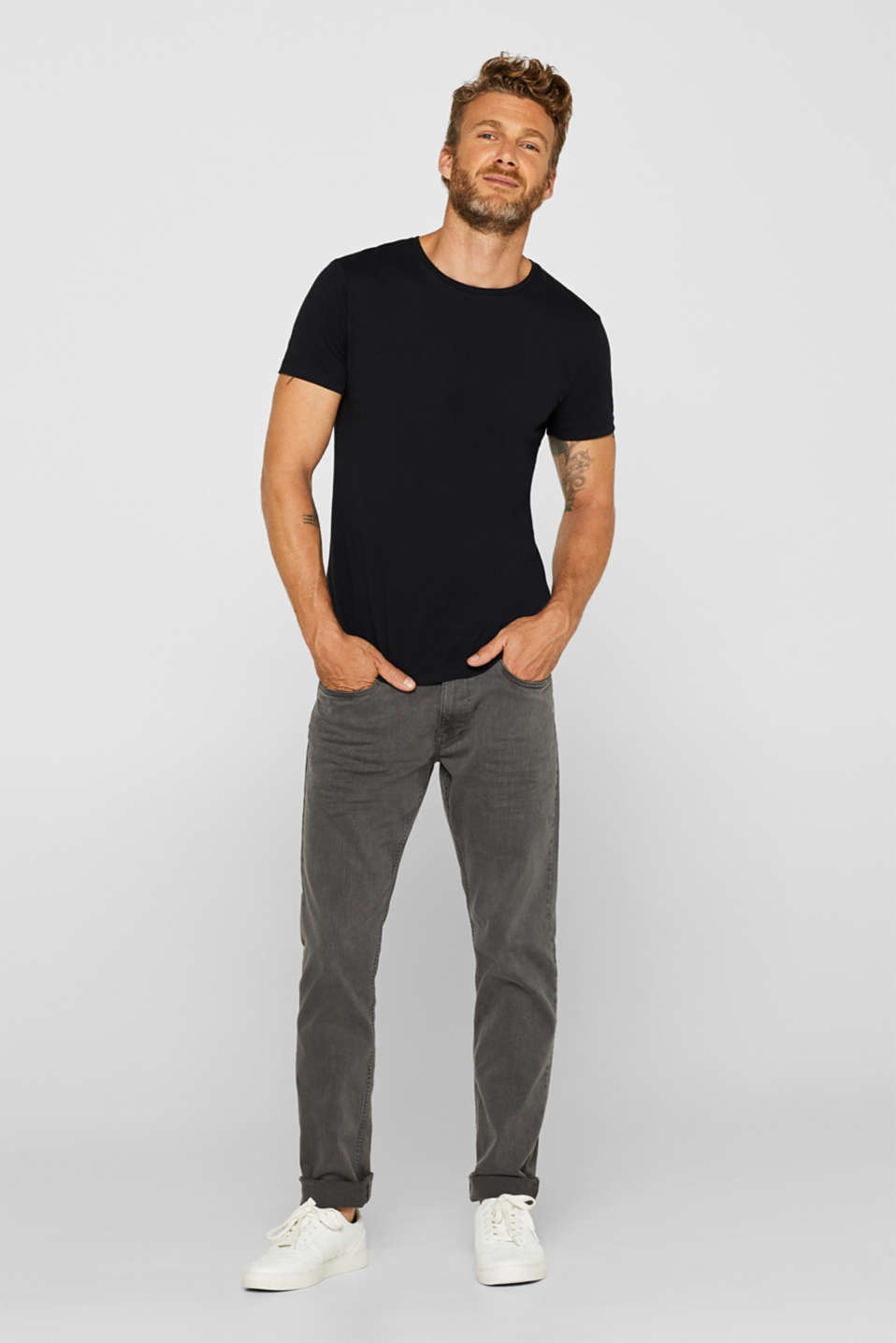 Double pack of jersey tees containing organic cotton, BLACK, detail image number 1