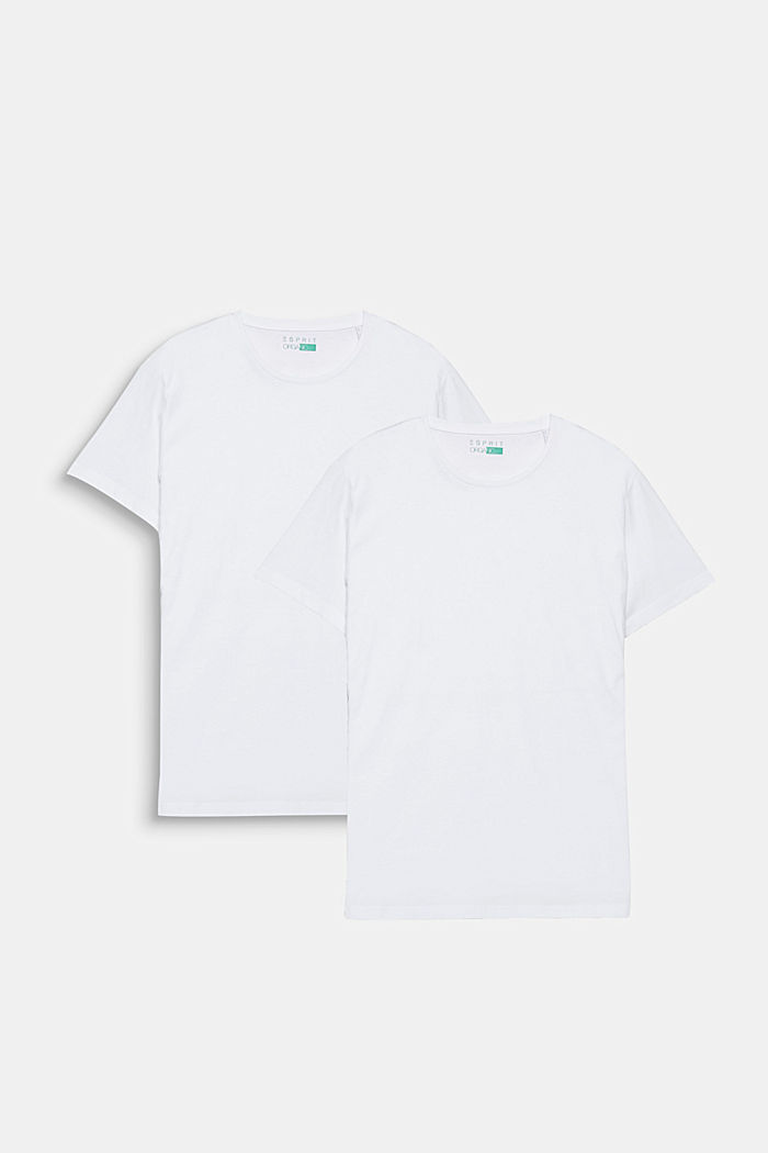 2er-Pack Jersey-Shirts mit Organic Cotton, WHITE, overview