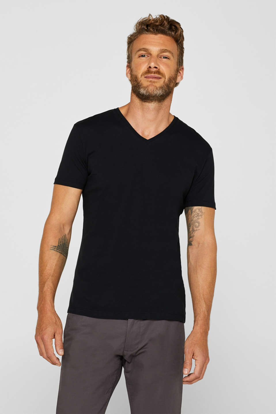 Double pack of jersey tees containing organic cotton, BLACK, detail image number 4