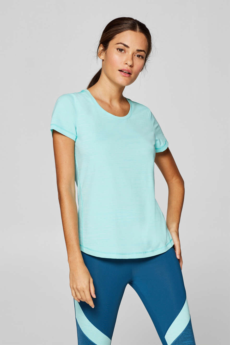 Esprit - Melange top with mesh details, E-DRY