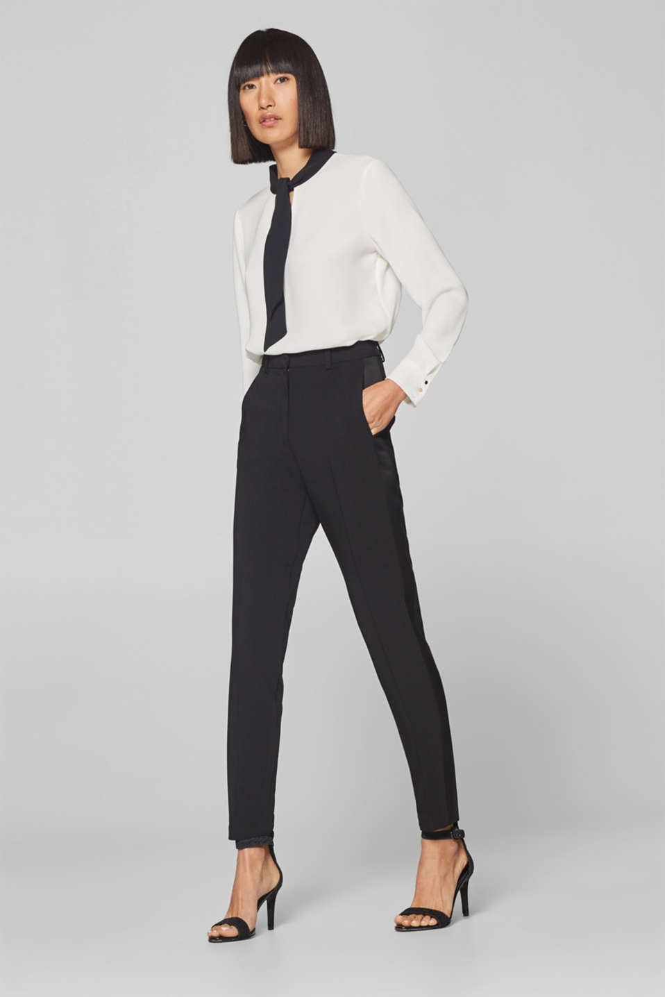 Esprit - Satin mix + match trousers with tuxedo stripes