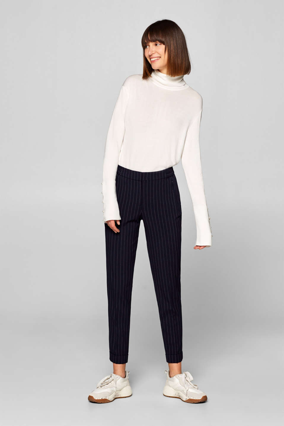 Esprit - Striped stretch trousers with elasticated waistband