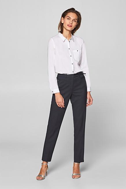 d327eba4bd0d Pantaloni stretch a quadri con cintura e tasche zippate