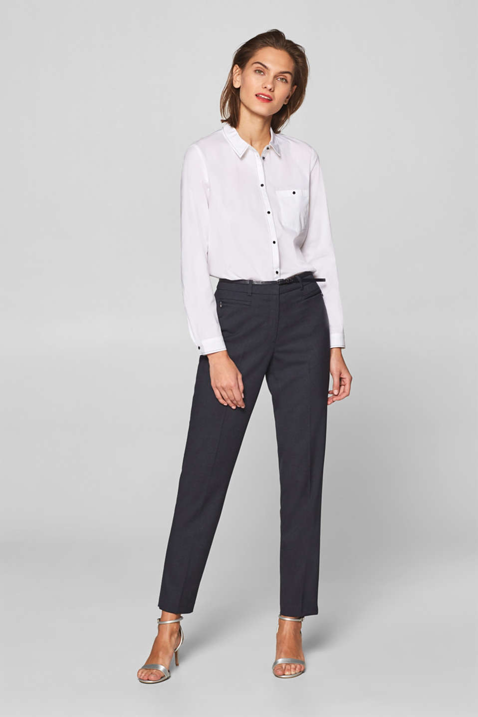 Esprit - Checked mix + match stretch trousers with a belt