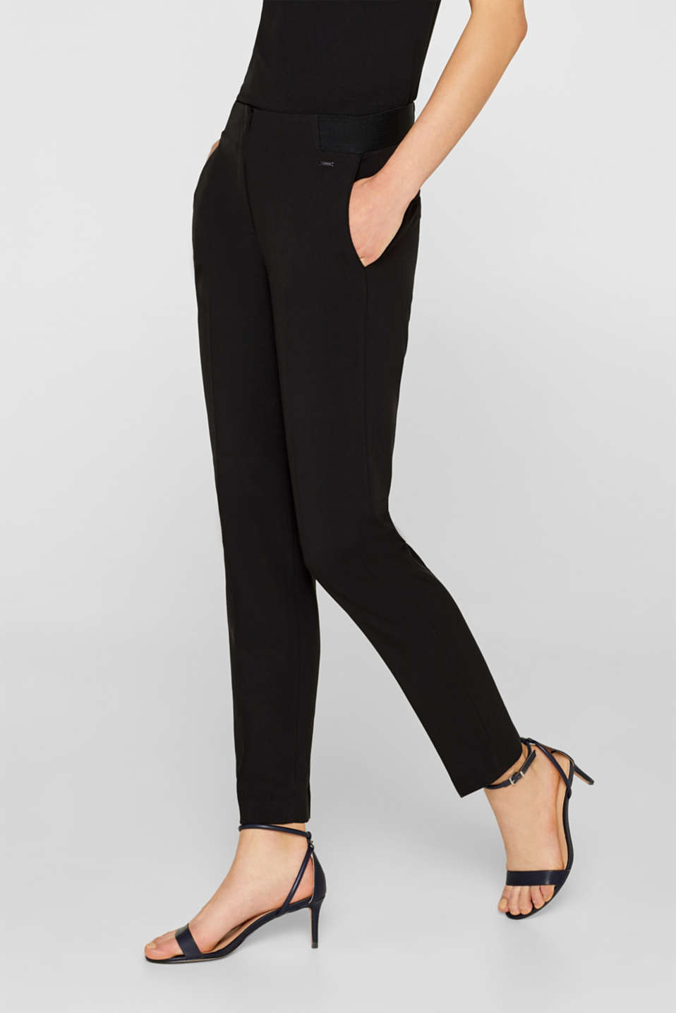 Esprit - Stretch trousers with a waistband elasticated at the side
