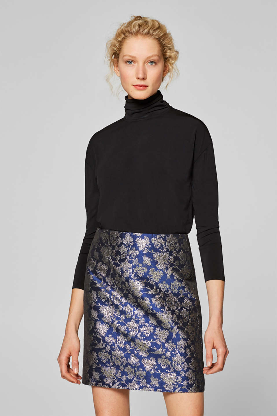 Esprit - Brocade skirt with floral pattern