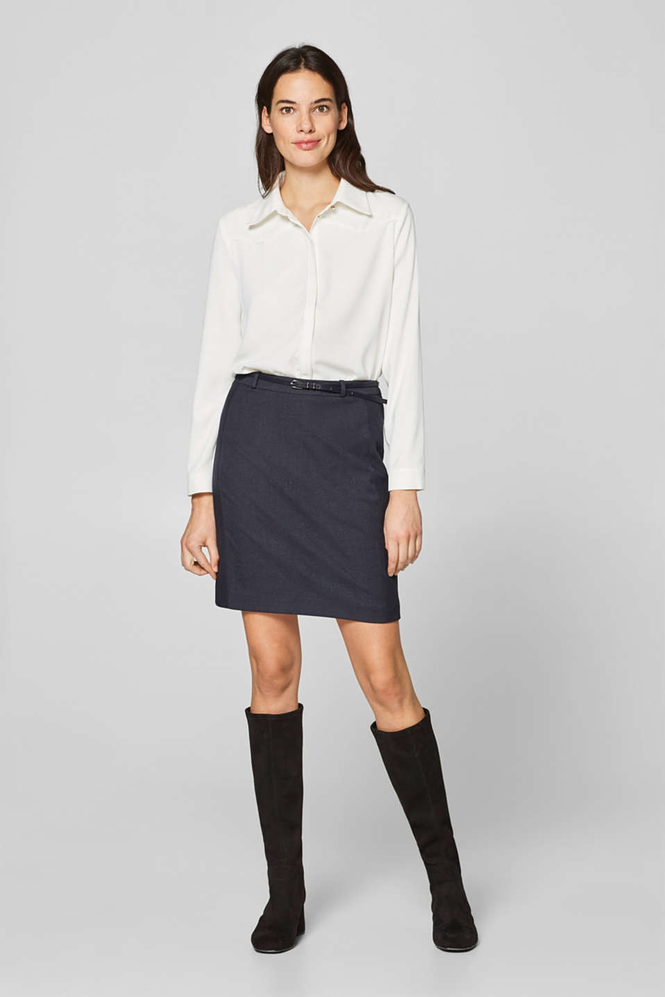 Esprit - MELANGE CHECK mix & match skirt with a belt