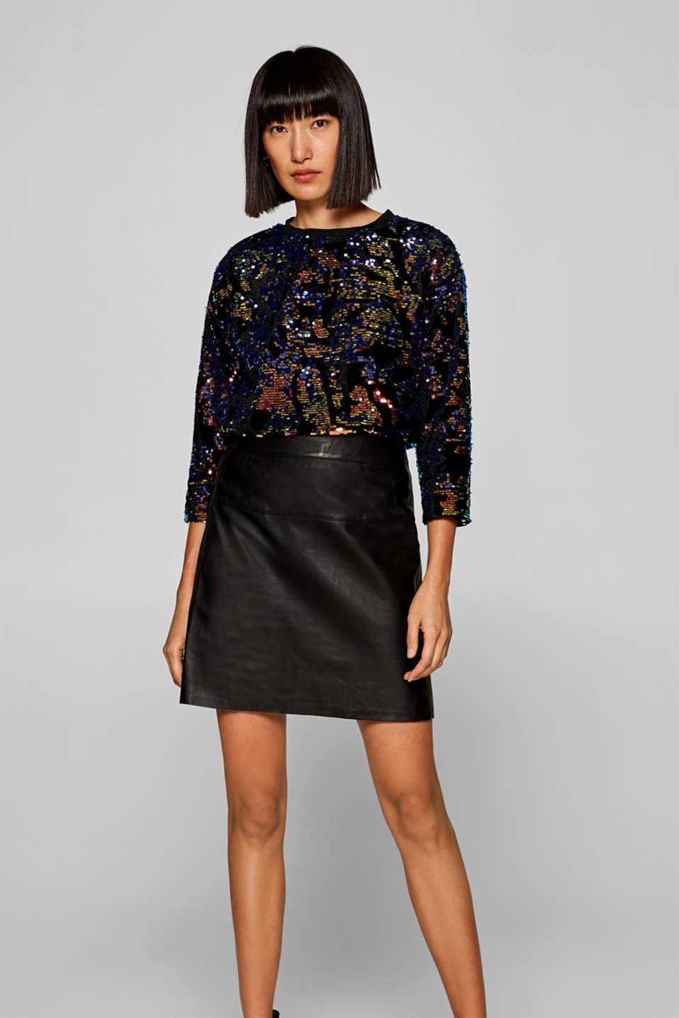 Esprit - Slightly flared skirt in soft leather