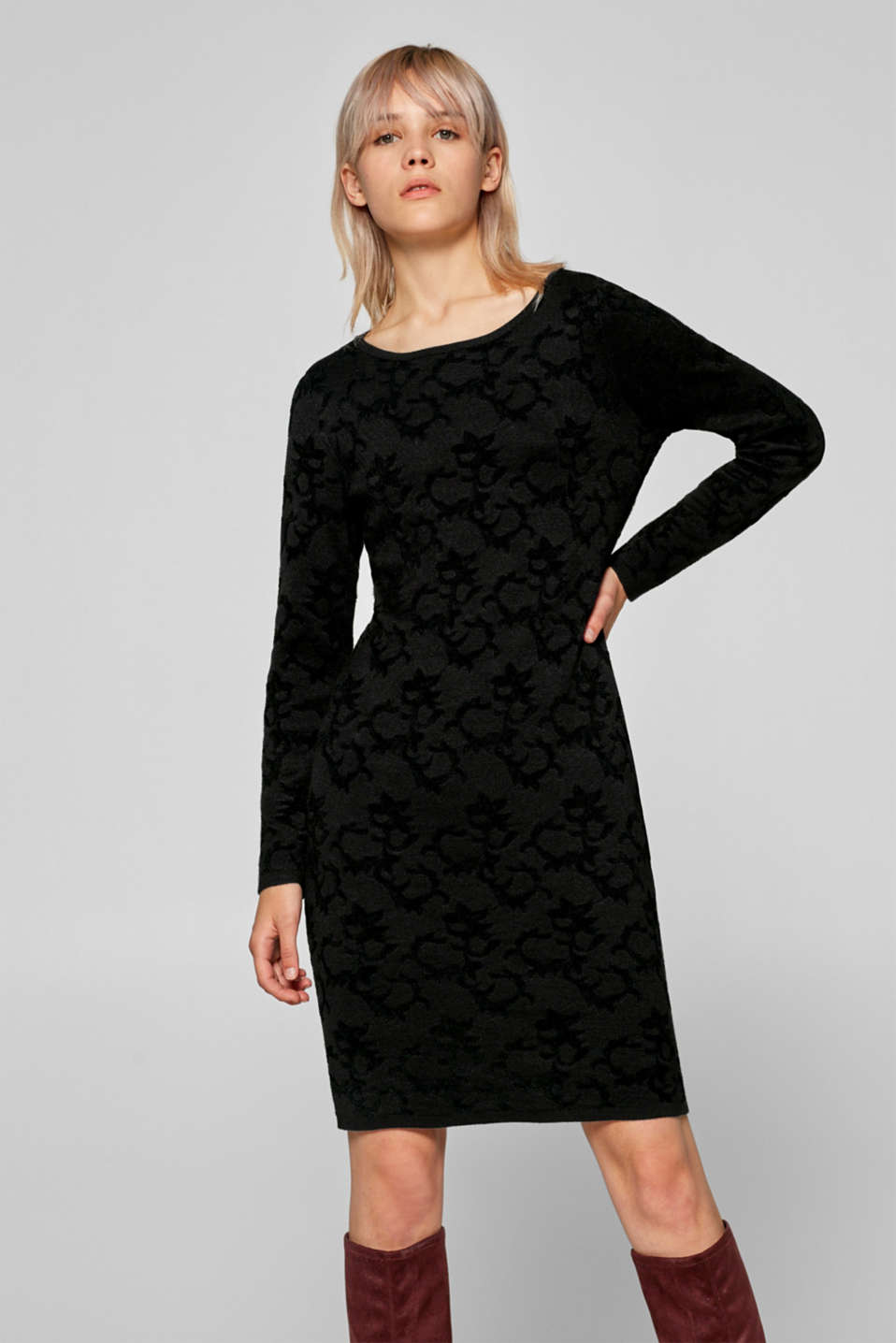 Esprit - Jersey dress with velvety chenille jacquard pattern