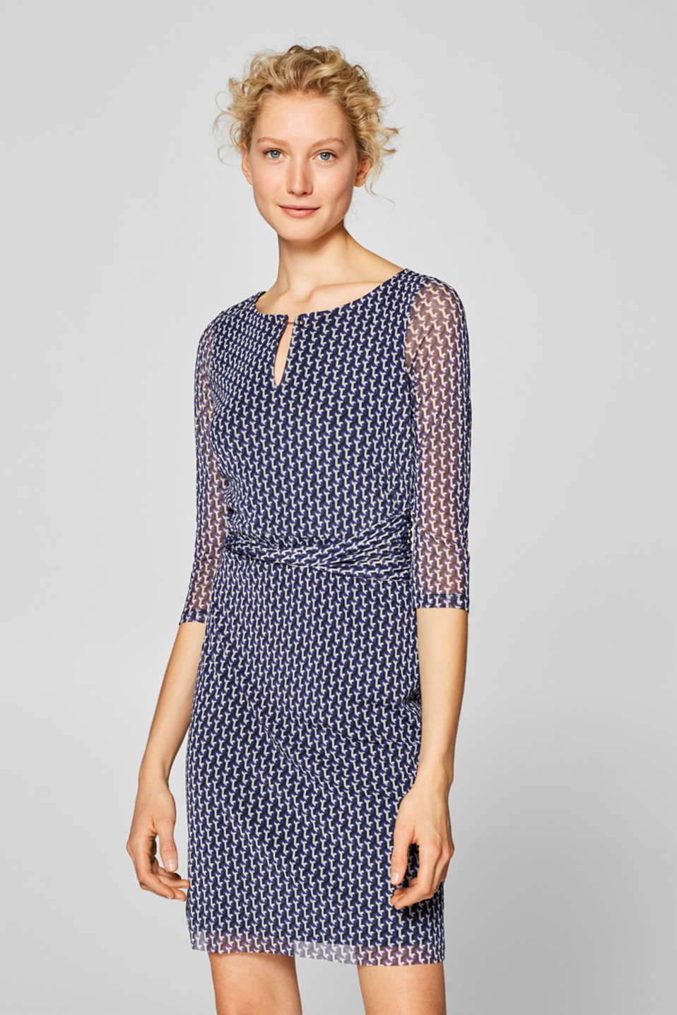 Esprit - Mesh dress with a print and draping details