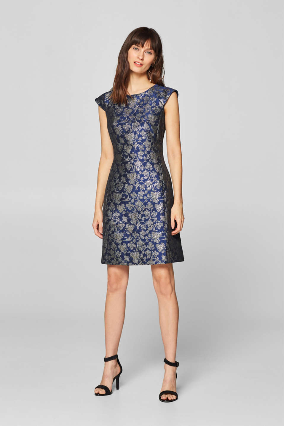 Esprit - Sheath dress with a golden jacquard pattern
