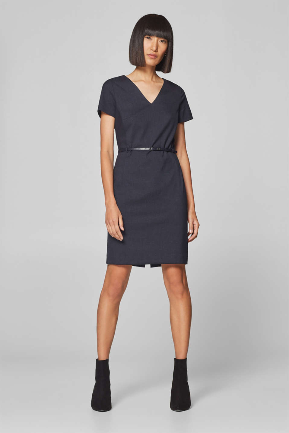 Esprit - Check sheath dress with added stretch and belt