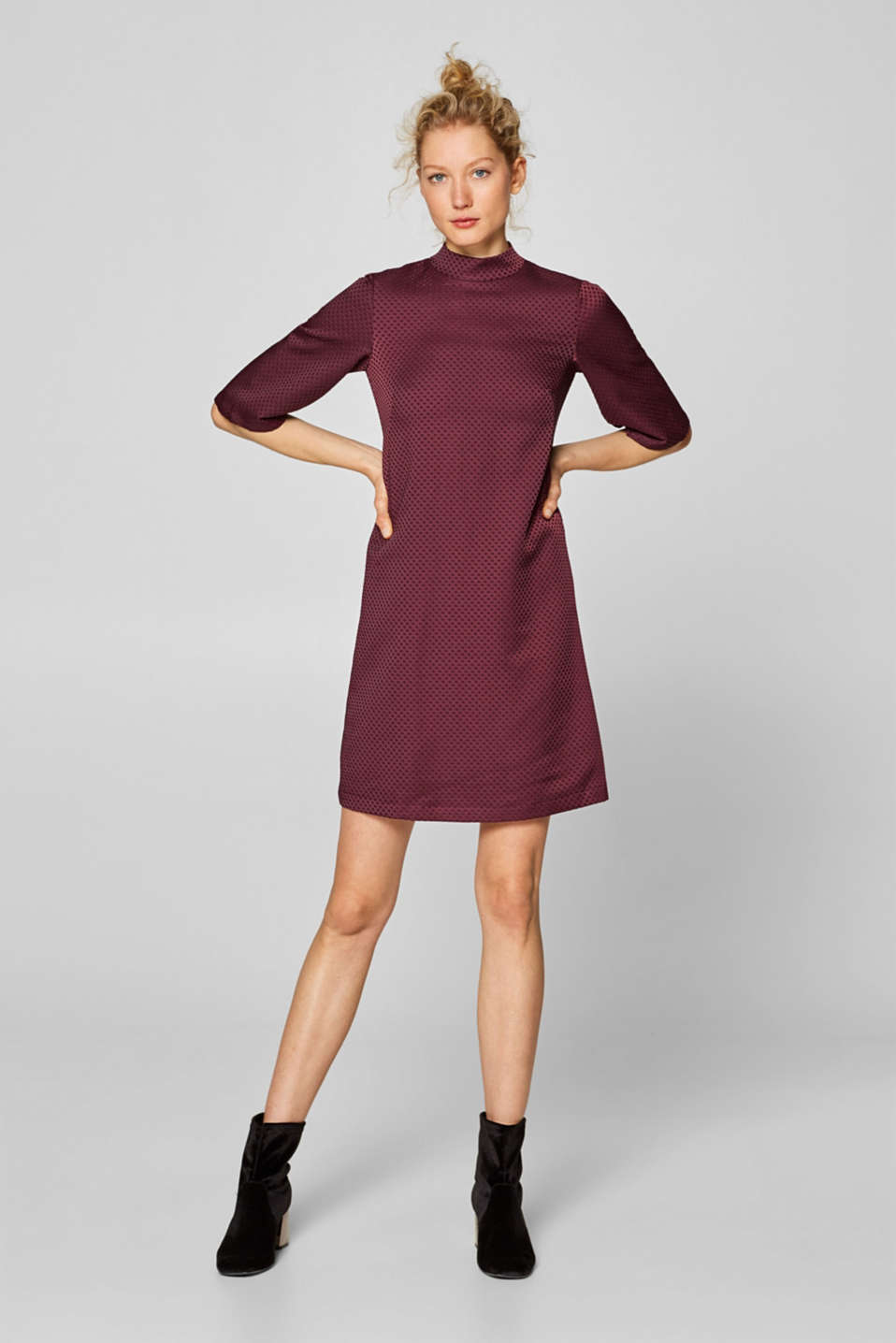 Esprit - Jacquard dress with a band collar
