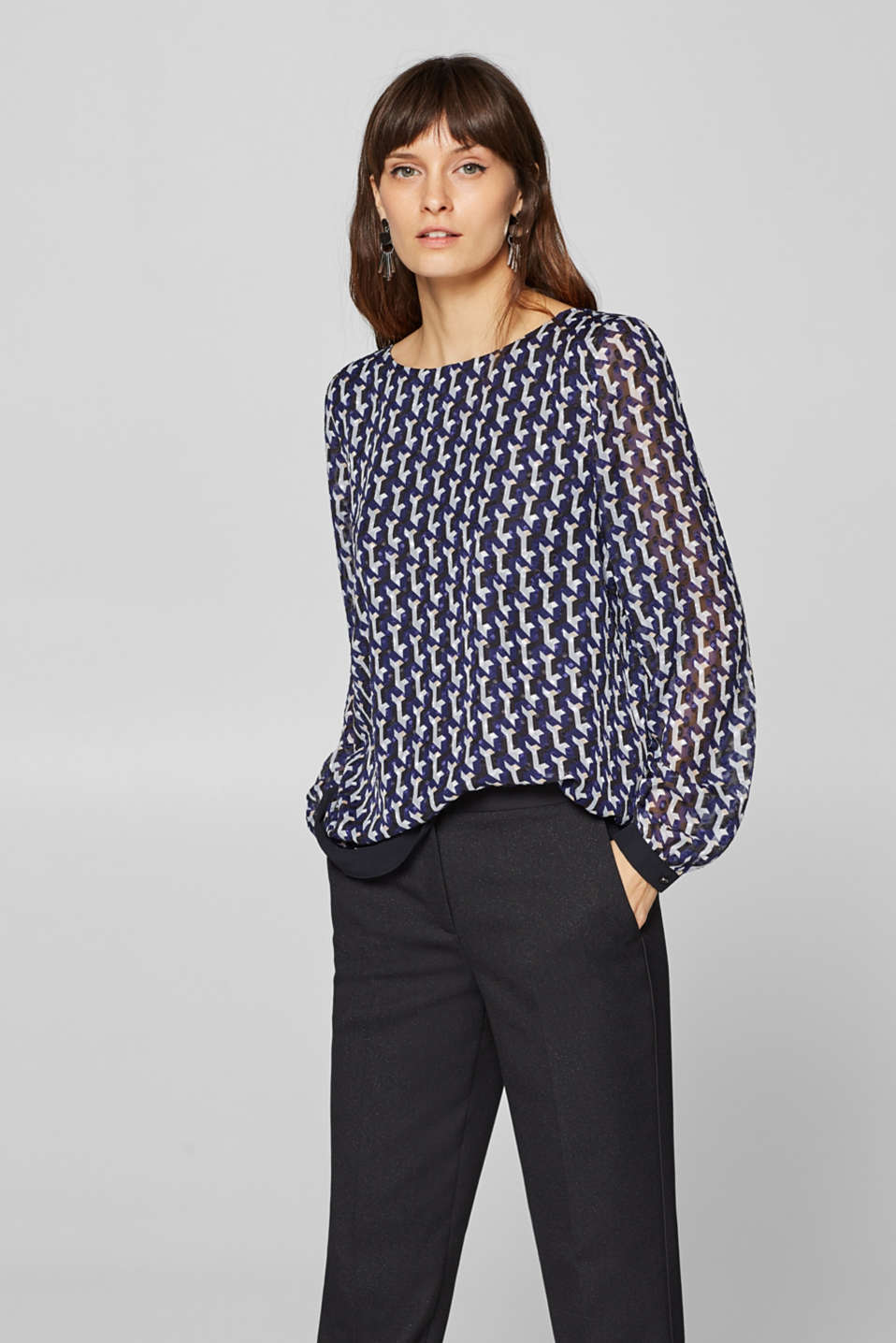 Esprit - Printed chiffon blouse in a layered look