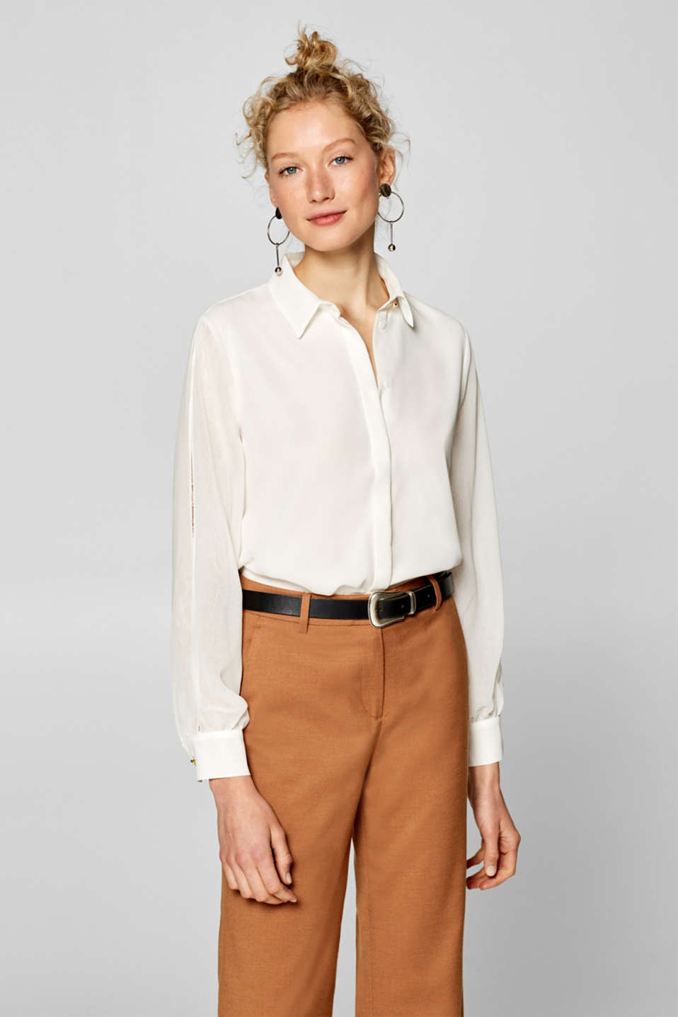 Esprit - Blouse with layered vented sleeves