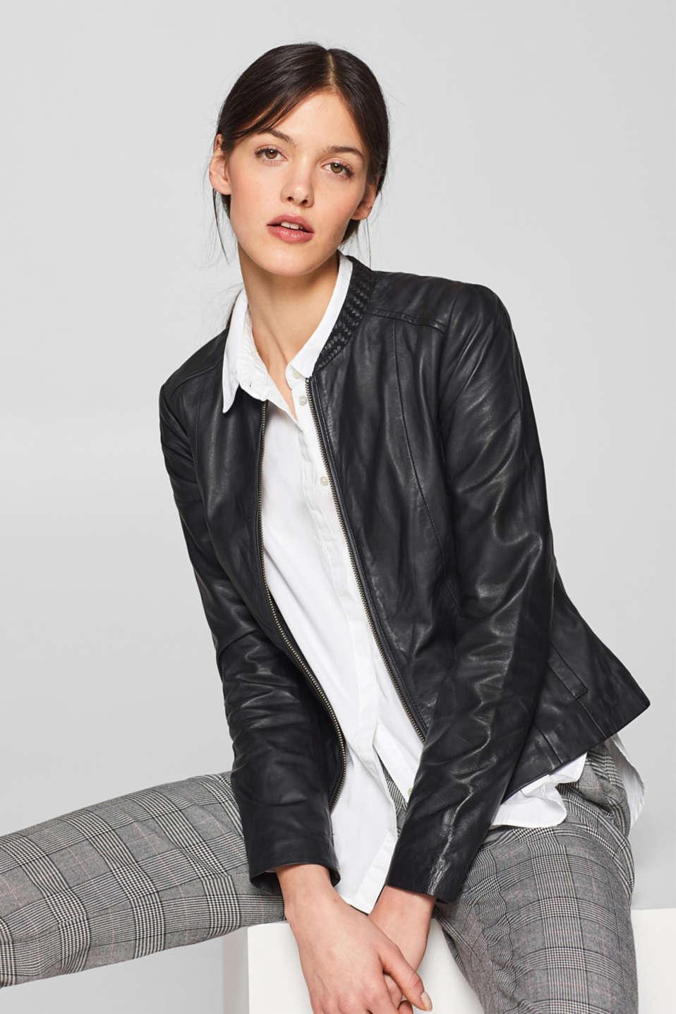 2a4c5a553926 Esprit – Kožená bunda se splétaným stojáčkem v našem on-line shopu