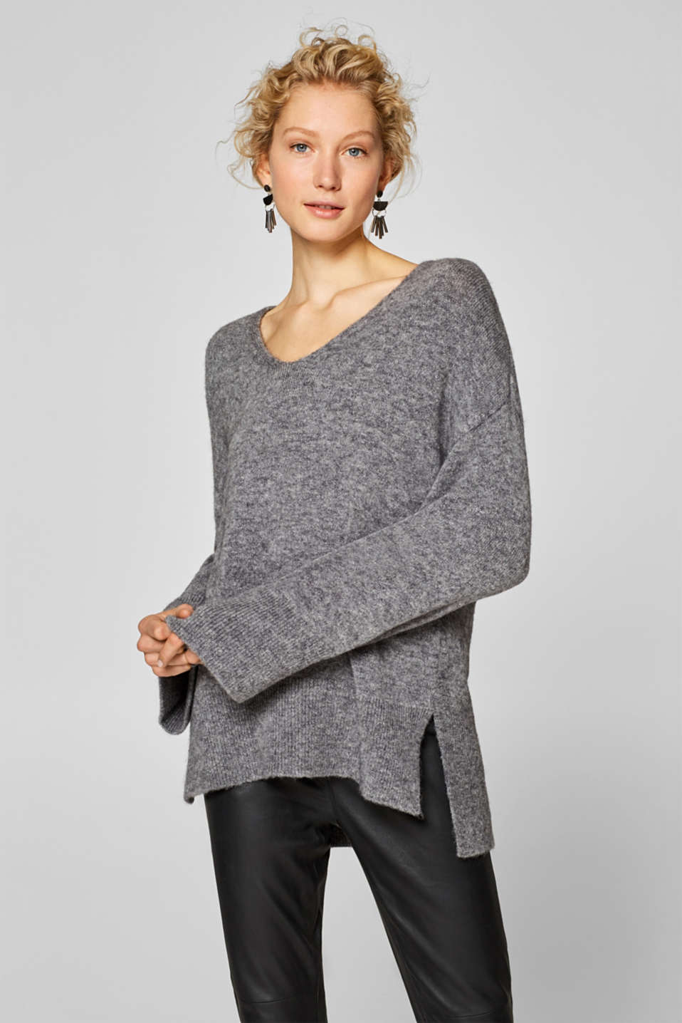 Esprit - With wool/mohair: glittering oversized jumper