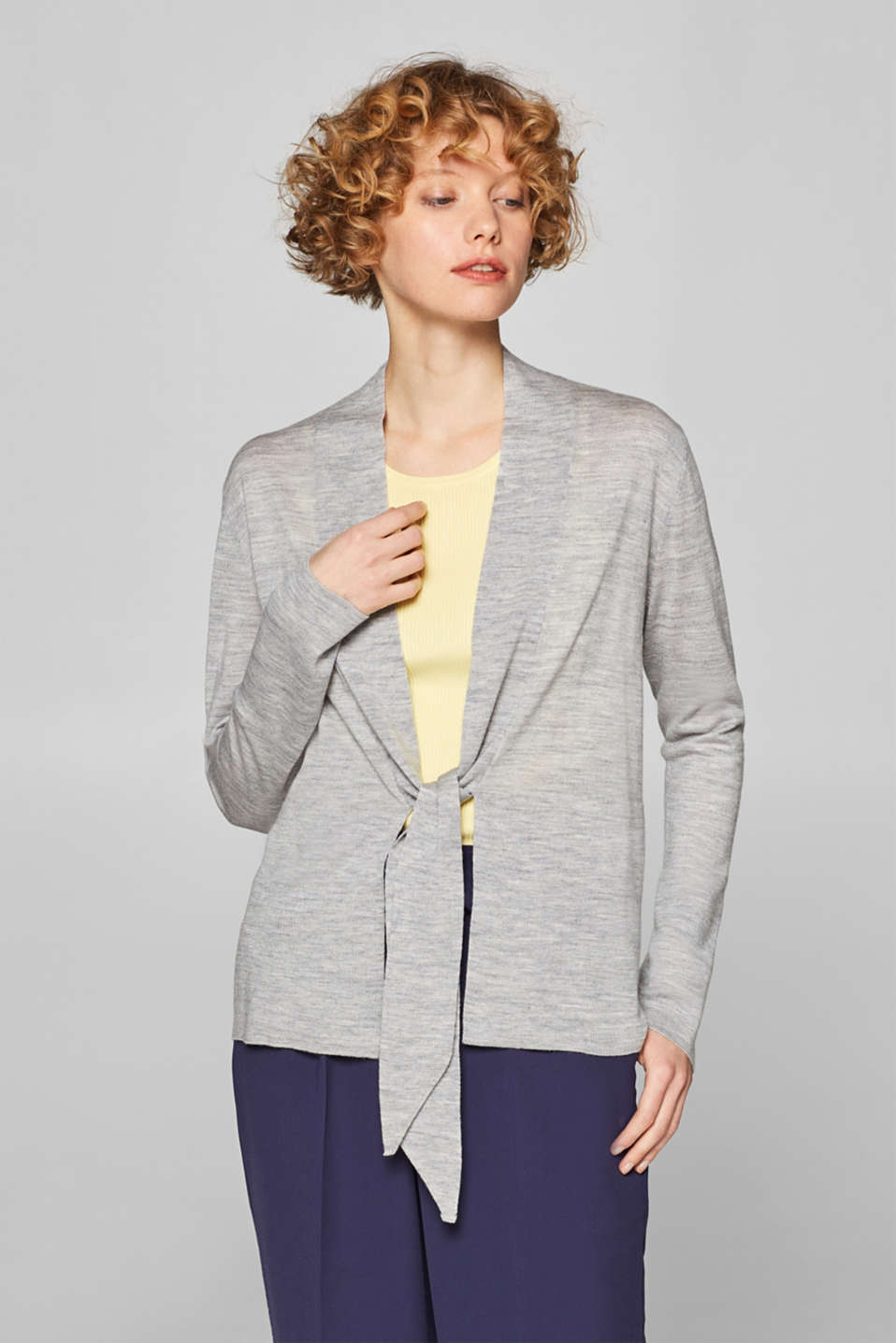 Esprit - Made of blended wool: cardigan with drawstring ties