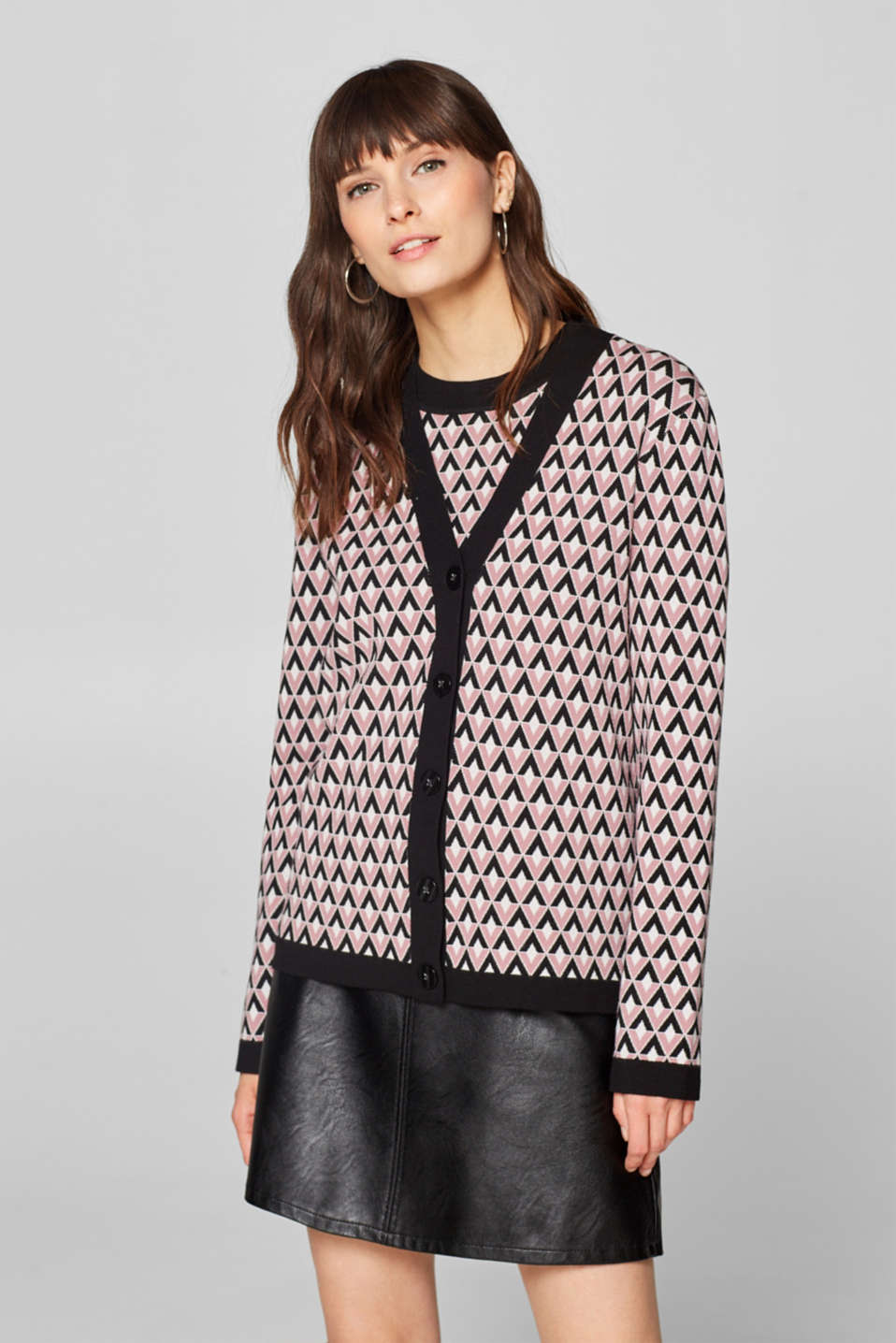 Esprit - Compact jersey cardigan with a graphic pattern