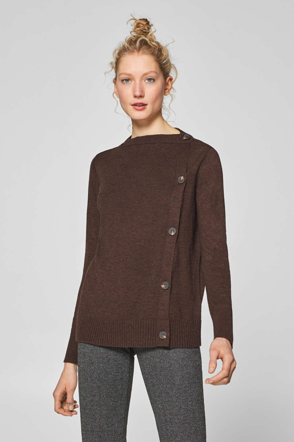 Esprit - With wool: Cardigan with side button placket