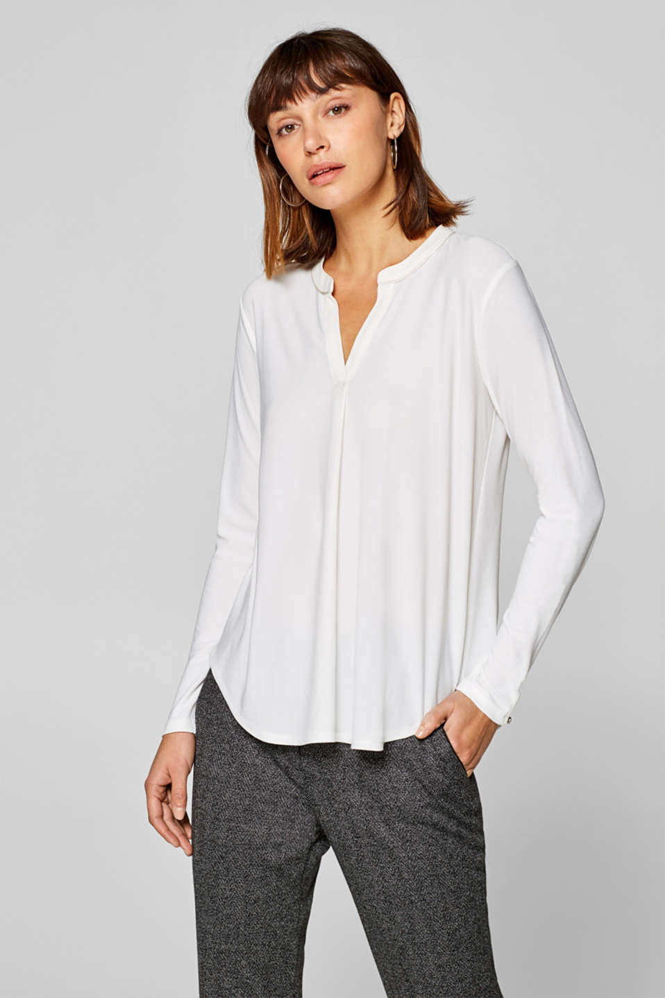Esprit - Henley long sleeve top with a decorative pleat and added stretch