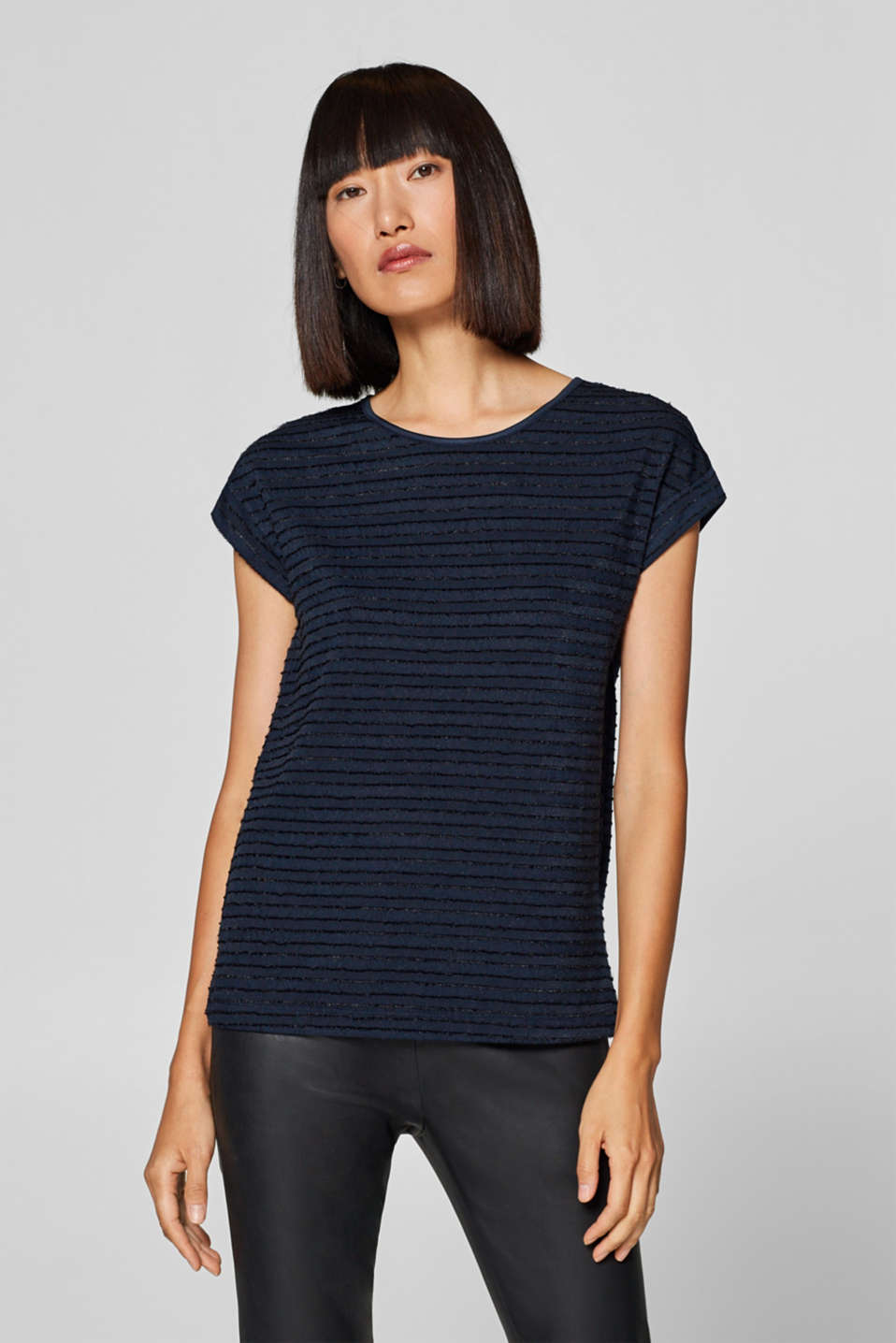 Esprit - Top with velvety textured stripes