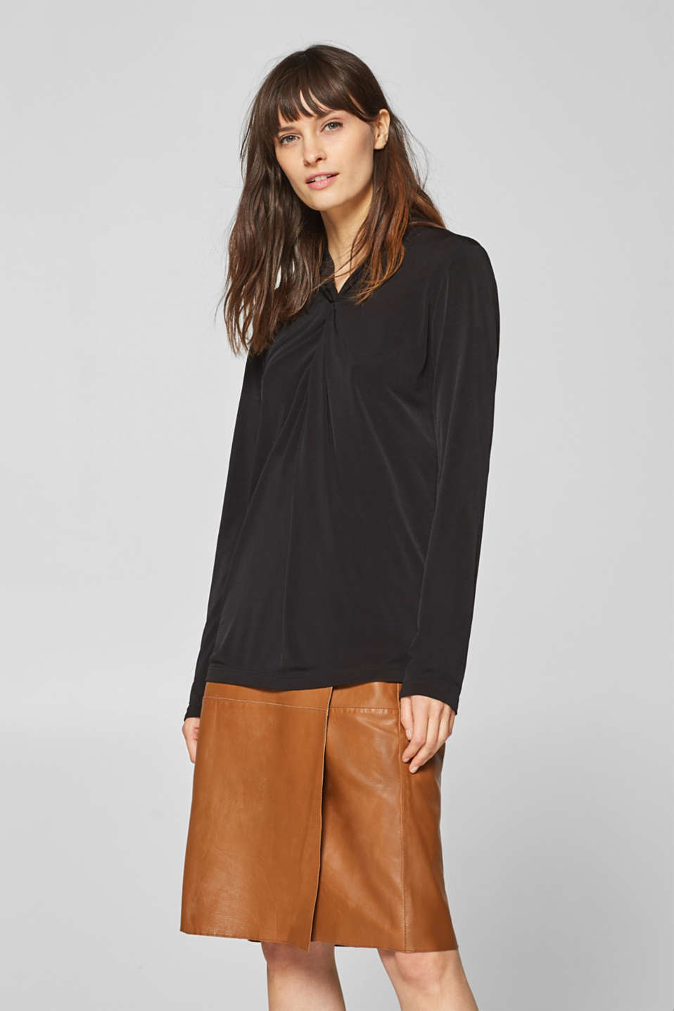 Esprit - Stretch long sleeve top with a draped effect