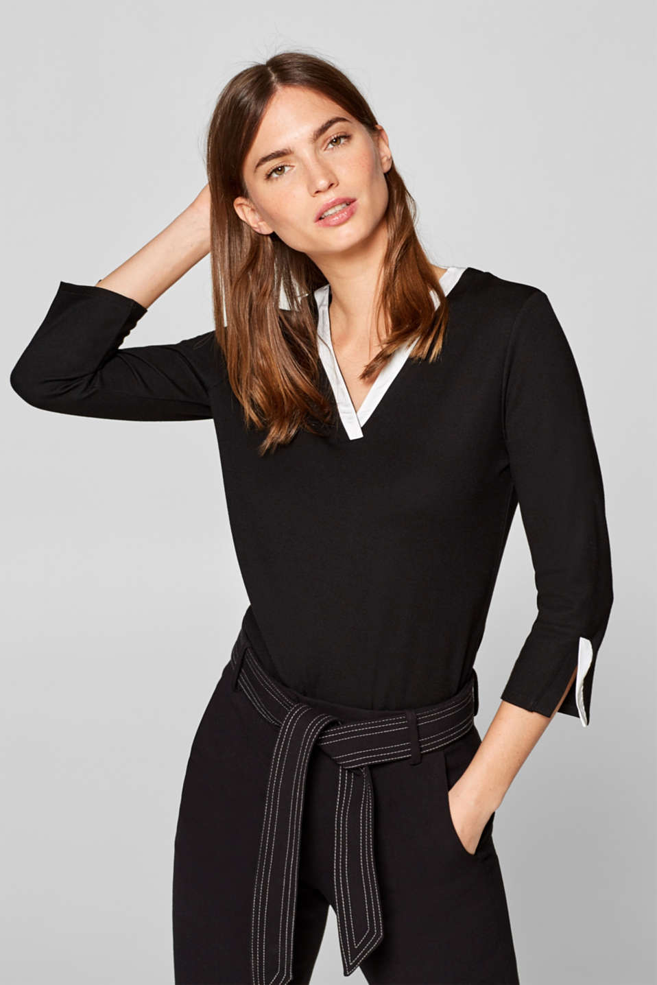 Esprit - Stretch long sleeve top with satin accents