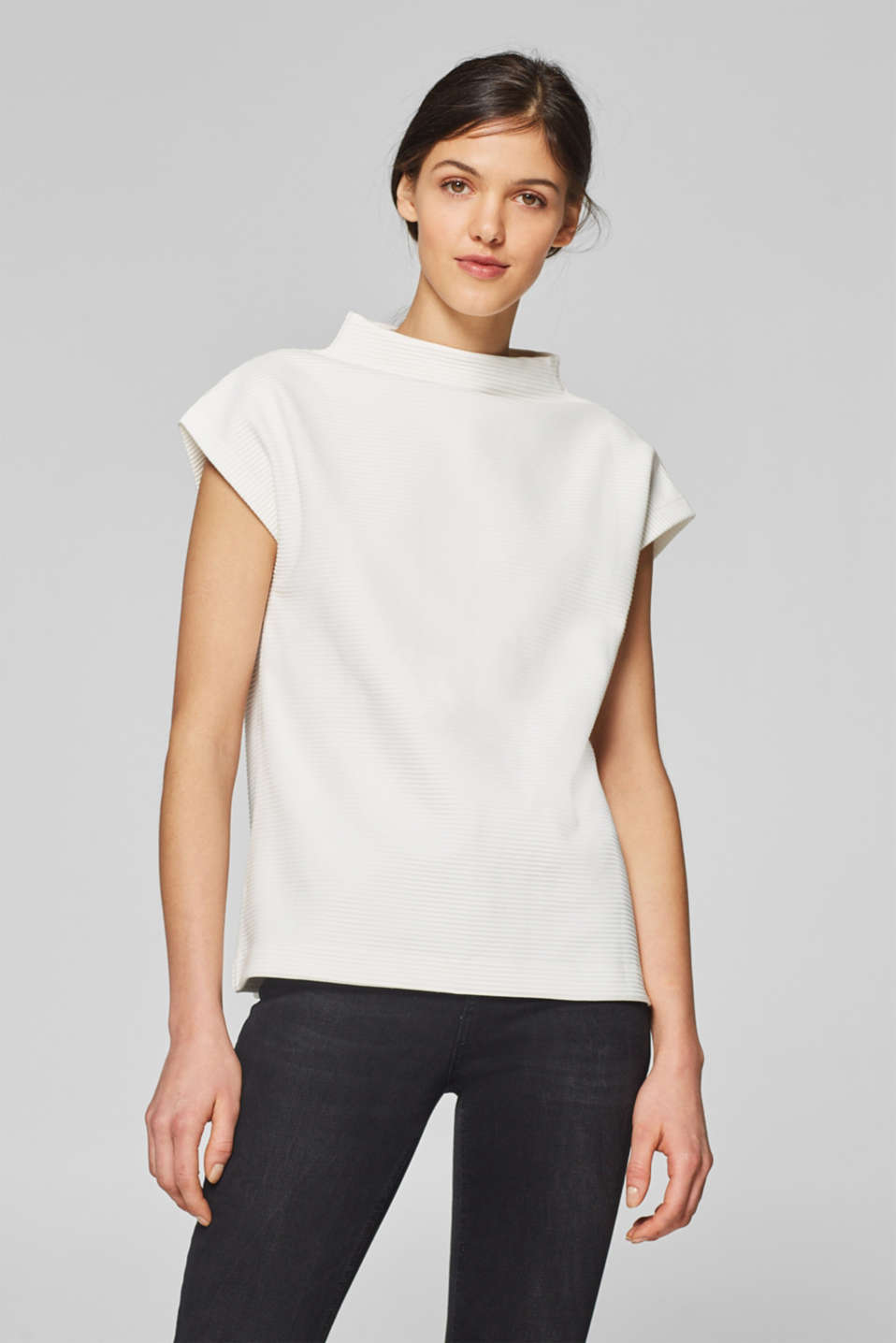 Esprit - Ribbed top in firm jersey with stretch