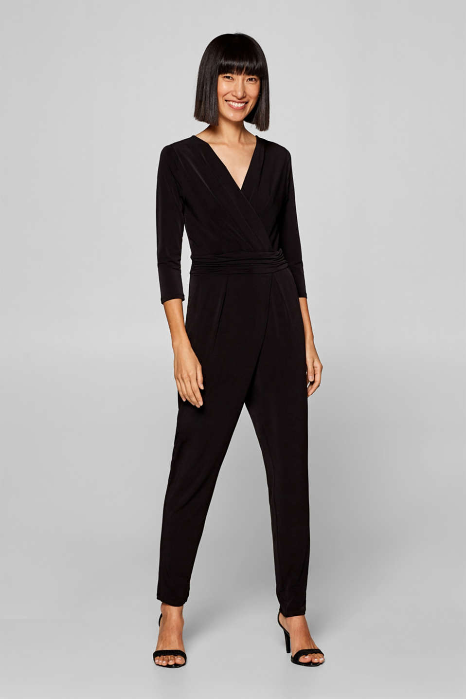 Esprit - Jersey-Stretch-Jumpsuit mit Wickel-Effekt