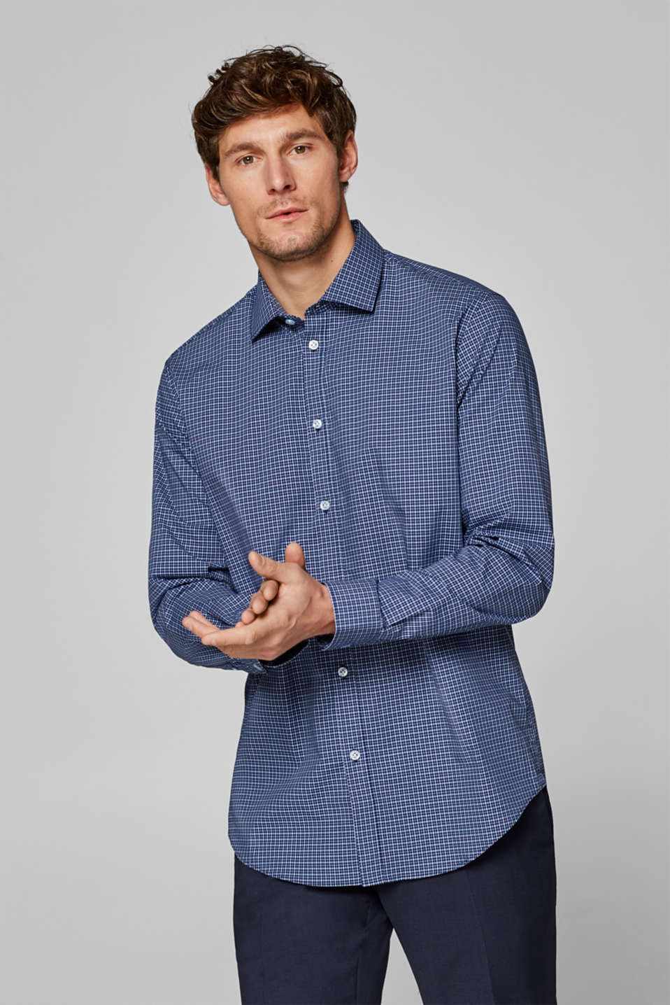 Esprit - Check shirt with mechanical stretch